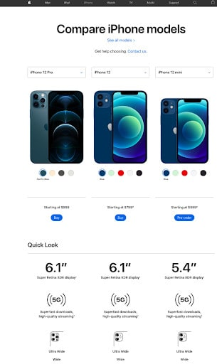 iPhone comparison chart from Apple