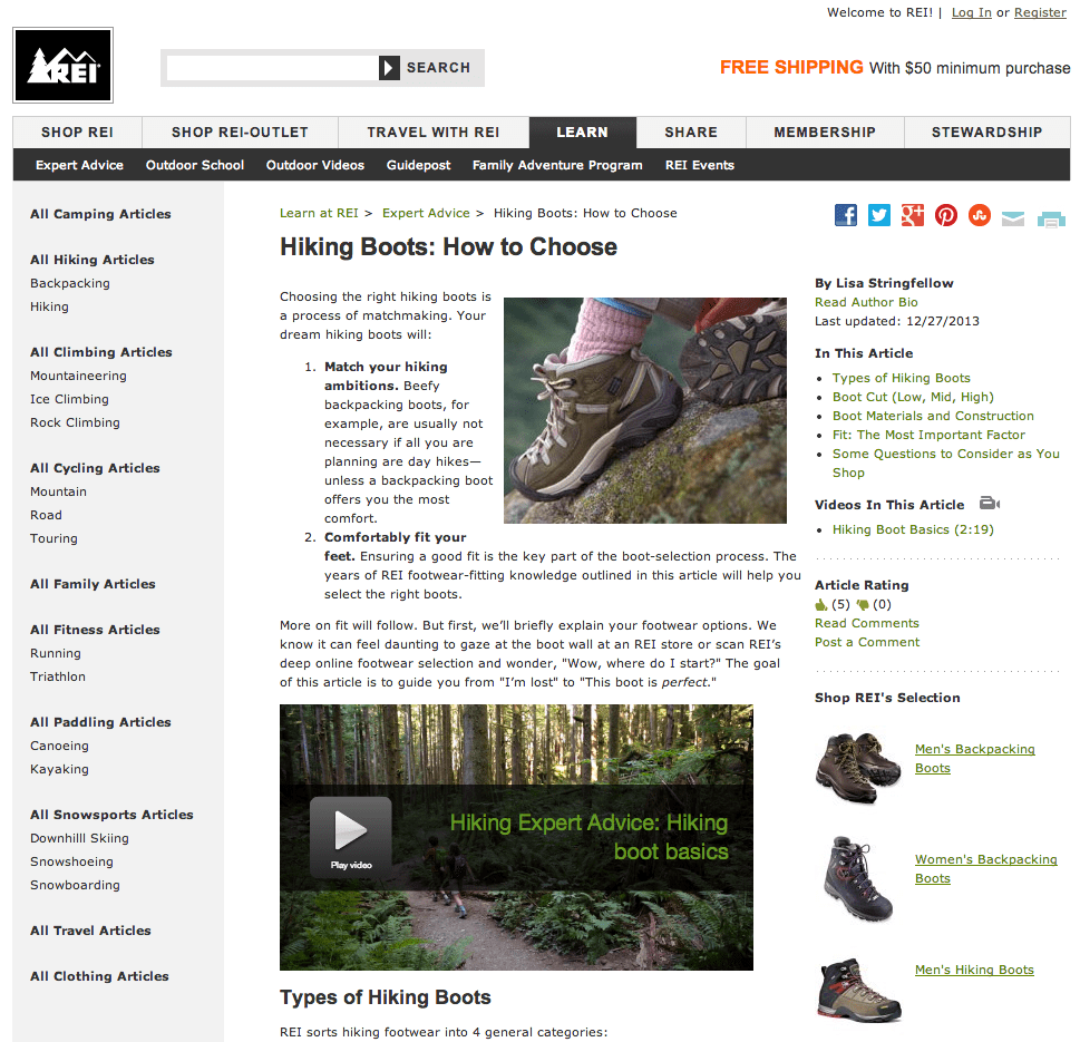 REI guide on how to choose hiking boots