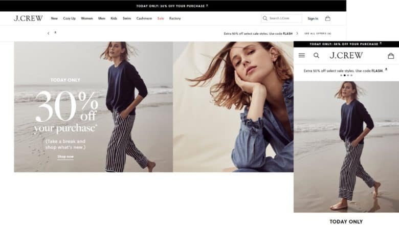 J Crew's mobile and desktop homepage use of static images