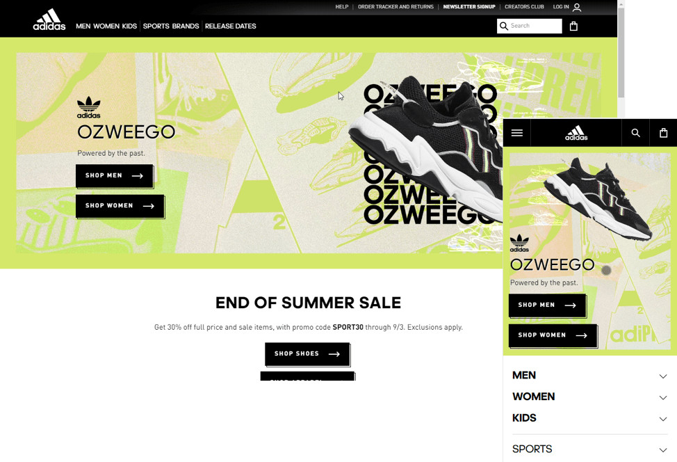 Adidas' responsive homepage design