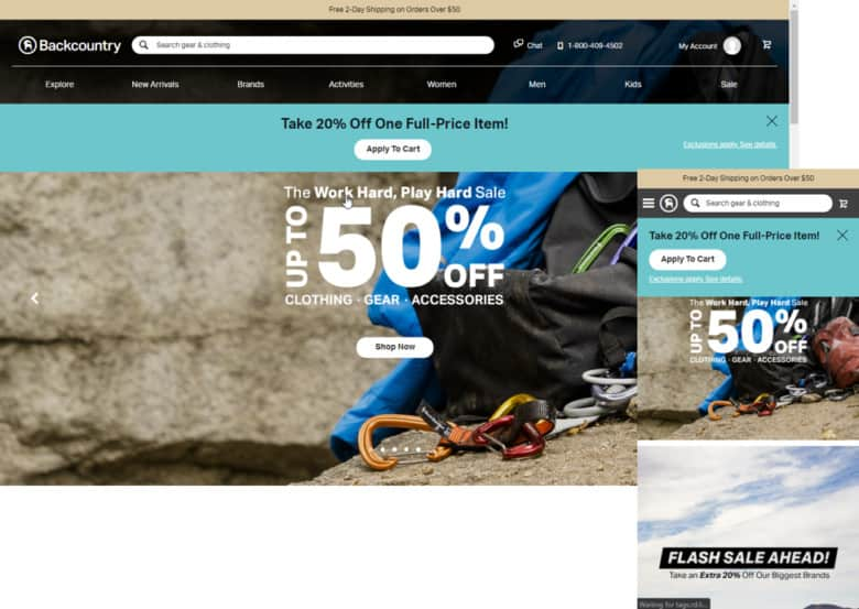 Backcountry's use of global elements on Desktop and Mobile