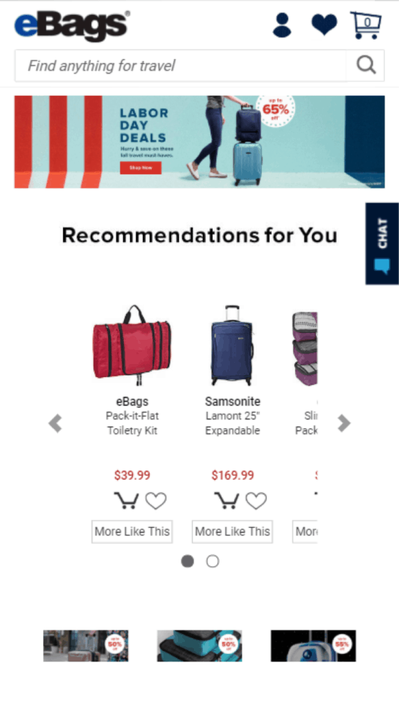 eBags.com use of Live Chat on mobile