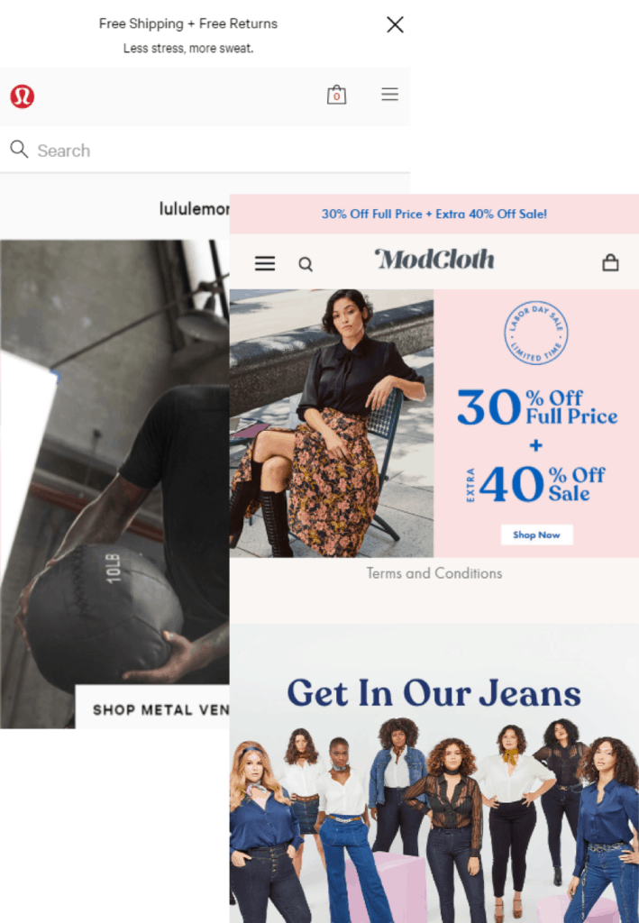 Lululemon and ModCloth's use of Site Search