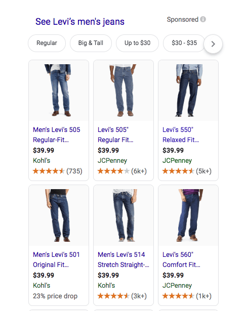 "Data feed optimization: Instead of ""men's jeans"" you're better off getting more specific like ""Men's Levi's Boss Jeans Size 34"""