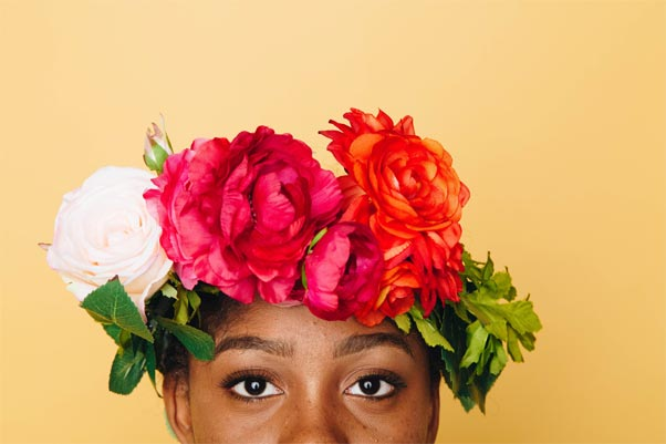 Woman with a flower hat