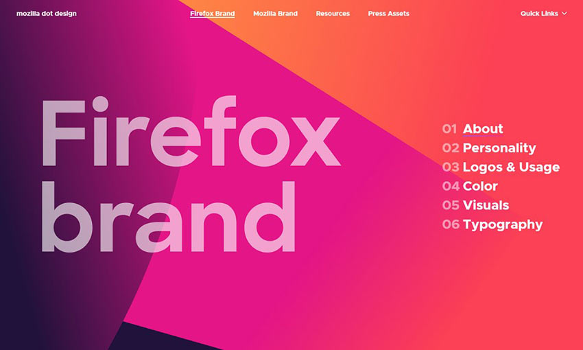 Example of Mozilla Dot Design