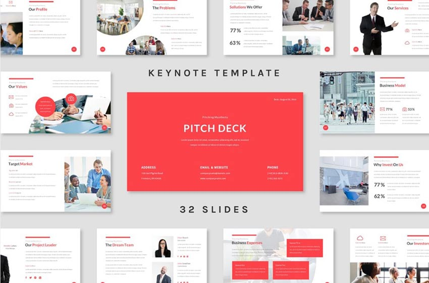 Example of Pitch Deck Keynote Template