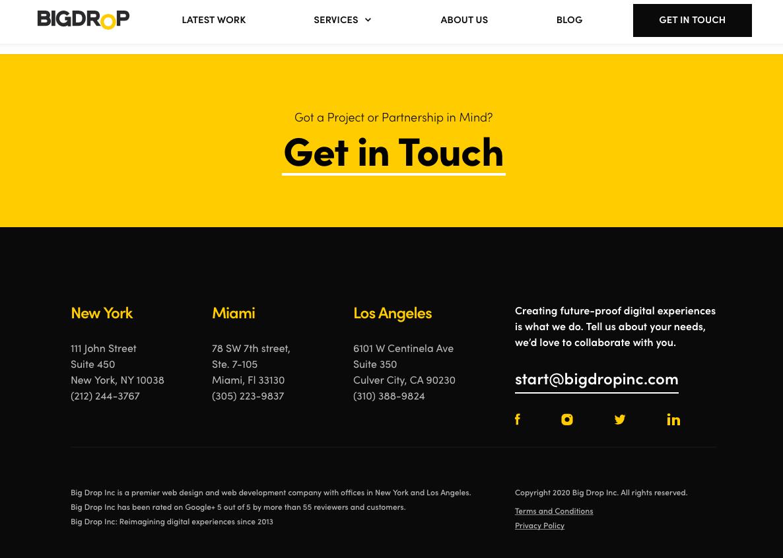 dark website designs - Big Drop Inc