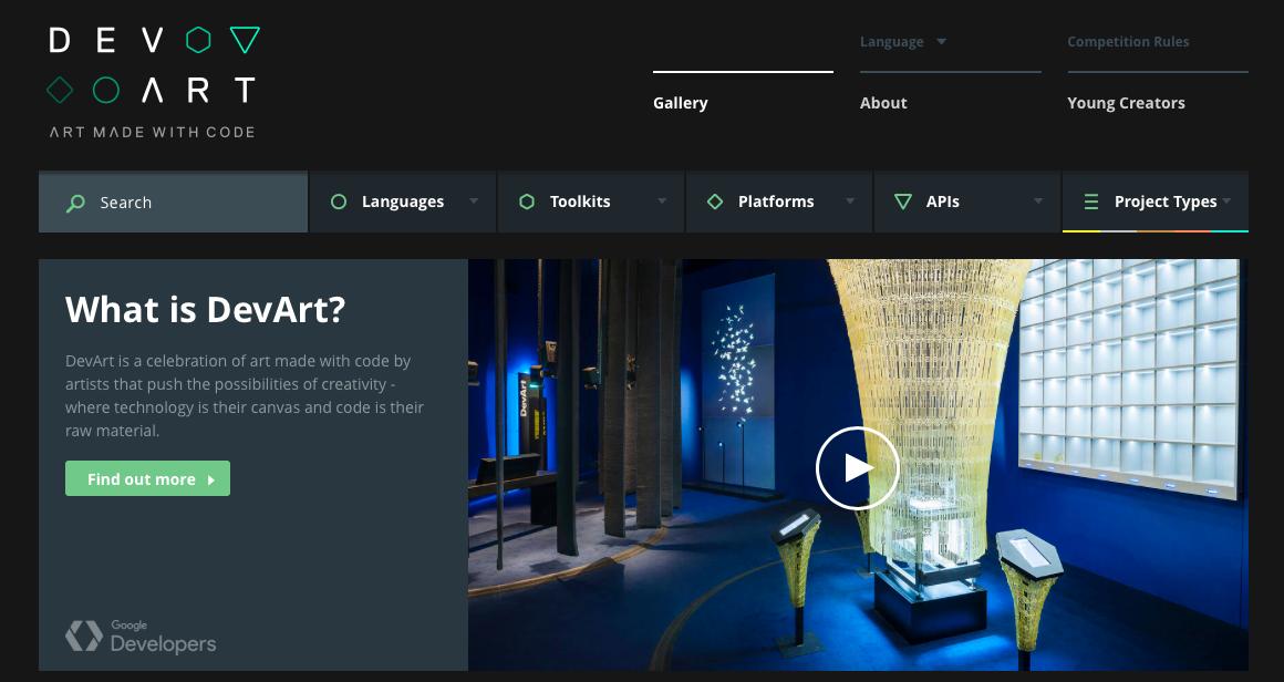 dark website design - DevArt