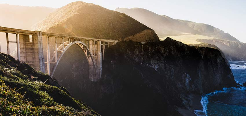 A bridge crossing over water.