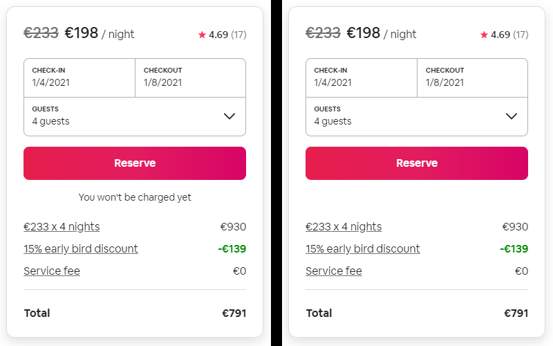 Airbnb with and without microcopy