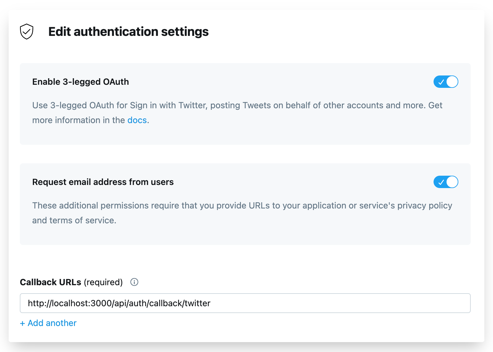 Edit the authentication settings of our Twitter app