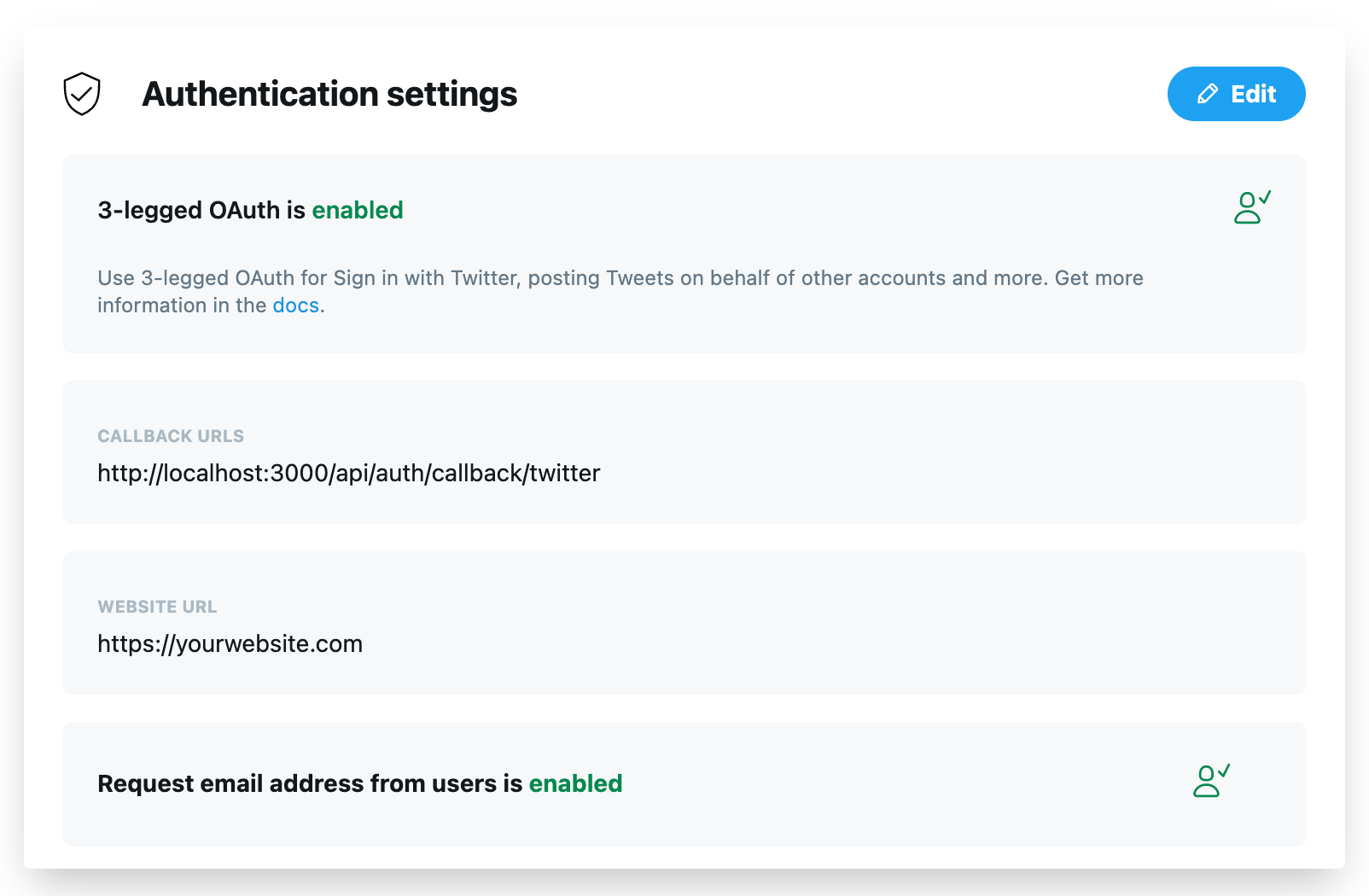 Enable the 3-legged OAuth of our Twitter app