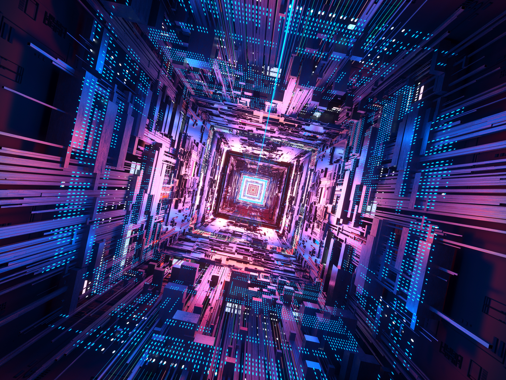 Data generated image of CPU in space.