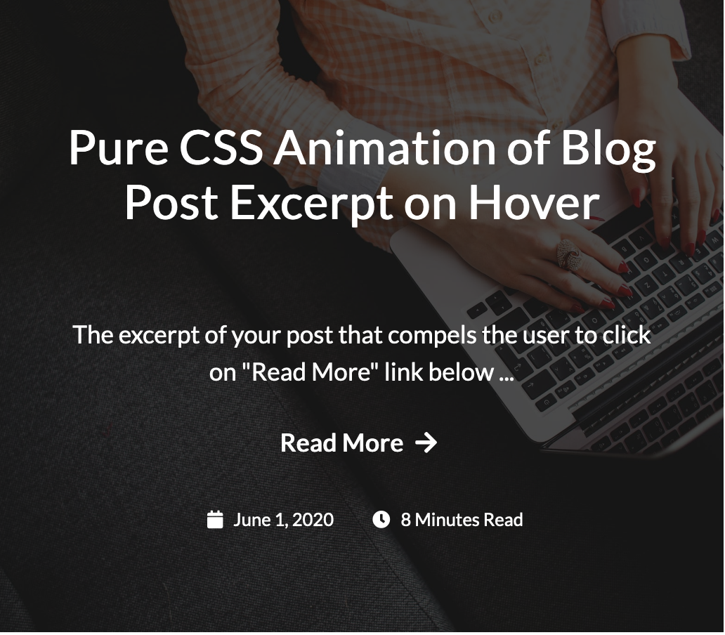Pure CSS Animation of Blog Post Excerpt on Hover
