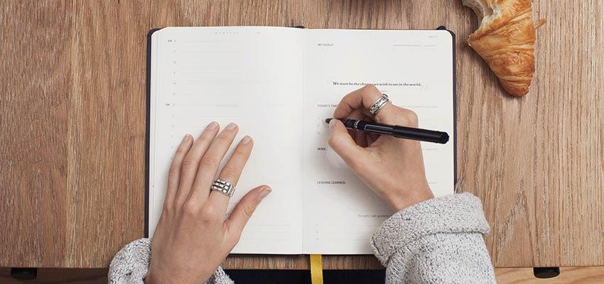 A person writing in a journal - WordPress development
