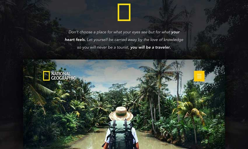 Example of Travelers: National Geographic Site