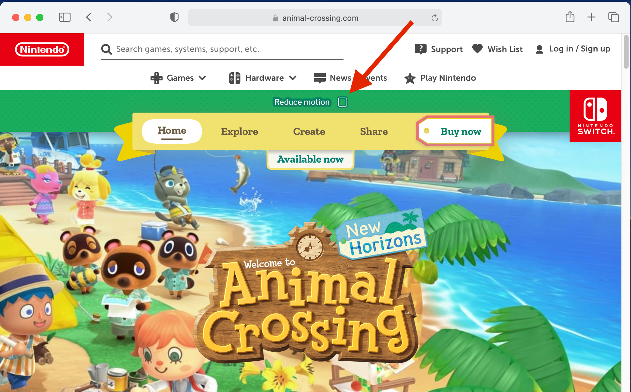 Screenshot of the animal crossing game website that is bright with a solid green header above a gold ribbon that displays menu items. Below is the main banner showing a still of the animated game with a wooden welcome to Animal Crossing sign in the foreground.