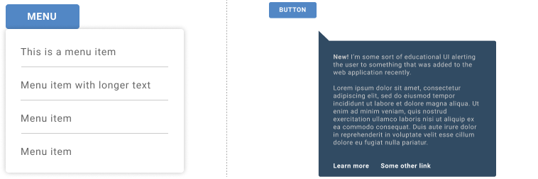 Two use cases showing a white action menu with four gray menu links below a blue menu button, and another example of a blog button with a large dark blue tooltip beneath it with two paragraphs of text in white.