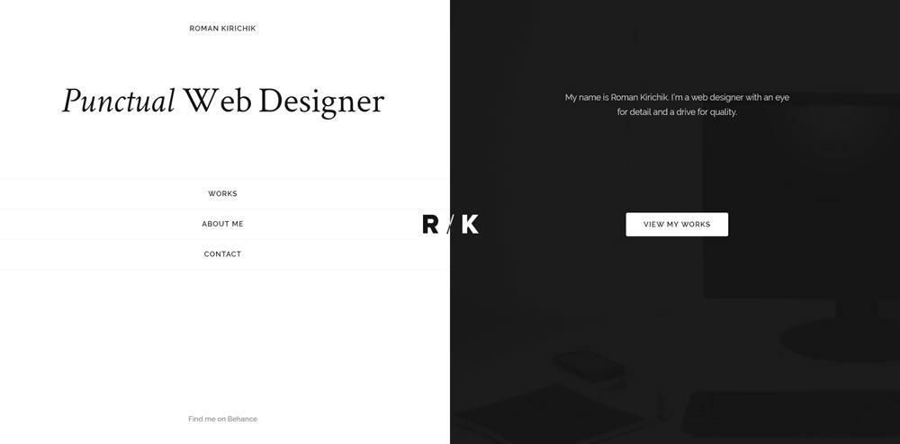 Roman Kirichik split screen web design layout