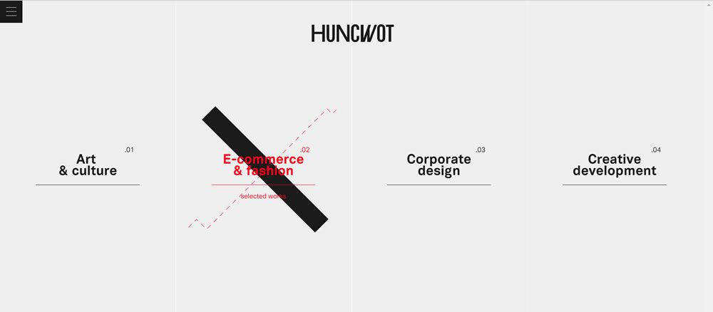 Huncwot split screen web design layout