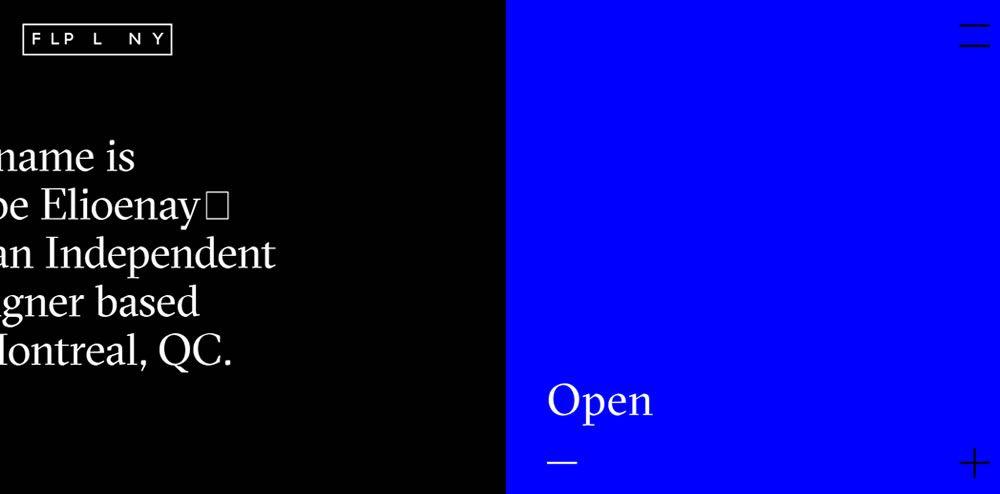 F L P L N Y split screen web design layout