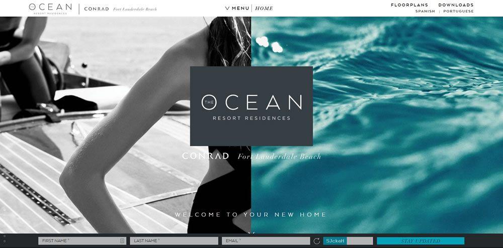 Ocean Resort Residences split screen web design layout