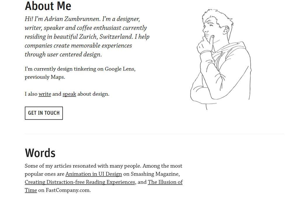 adrian zumbrunnen portfolio site
