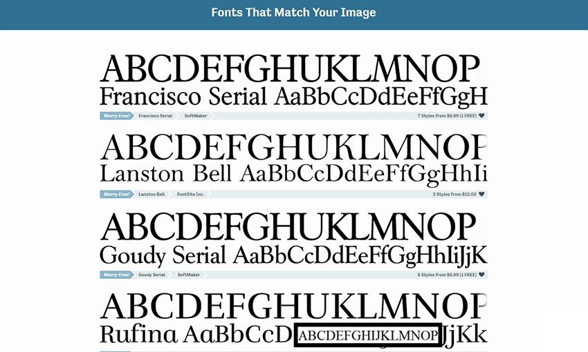 Example of Fontspring Matcherator