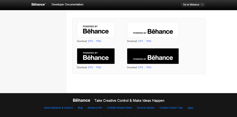The Behance logo has four variations in their style guide
