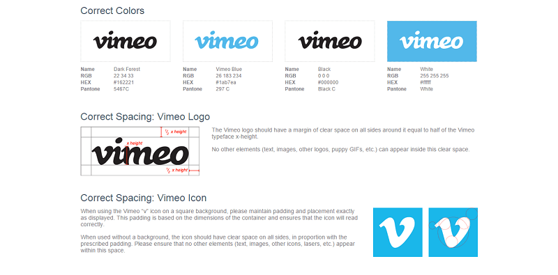 The Vimeo guideline includes the proper use of its logo, icons, colors, and spacing