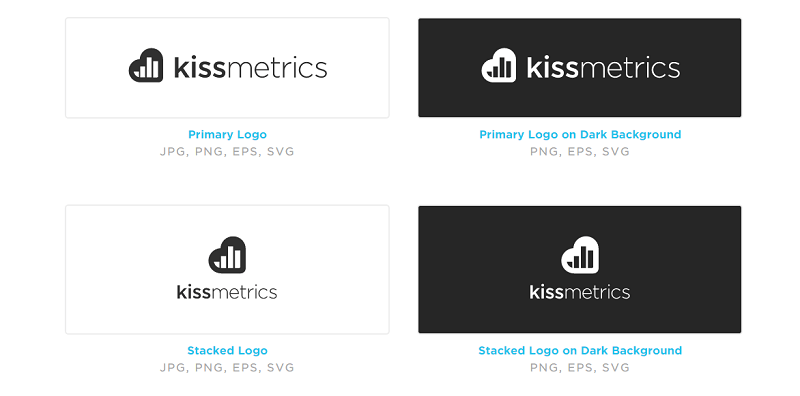 The KISSmetrics style guide includes the 6 variants of its logo