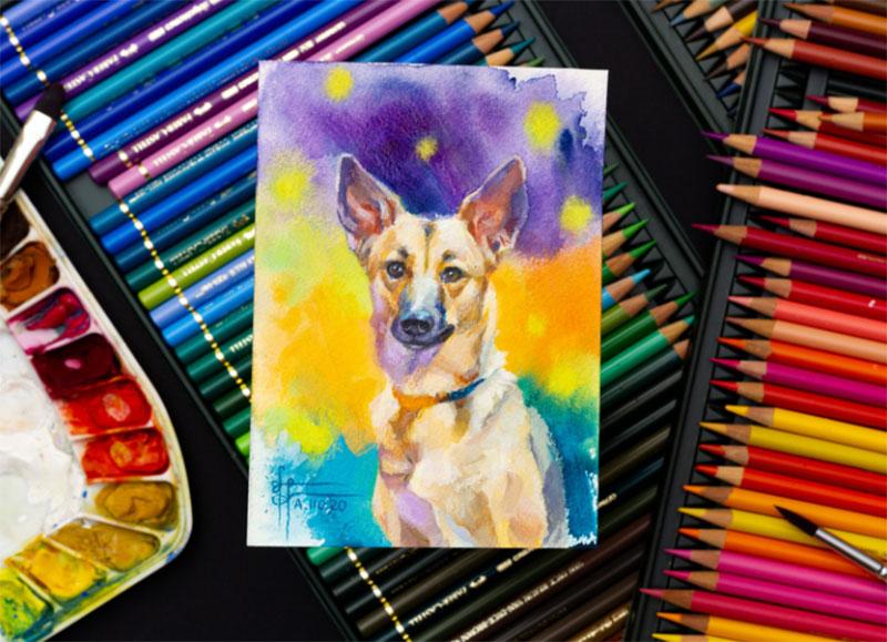 Tiny-mixed-media-German-Shepherd-dog-painting Awesome dog illustration images to inspire you