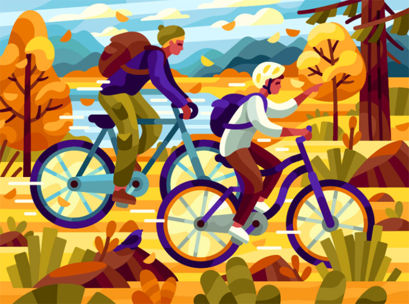 Friends Beautiful autumn illustration examples for the season
