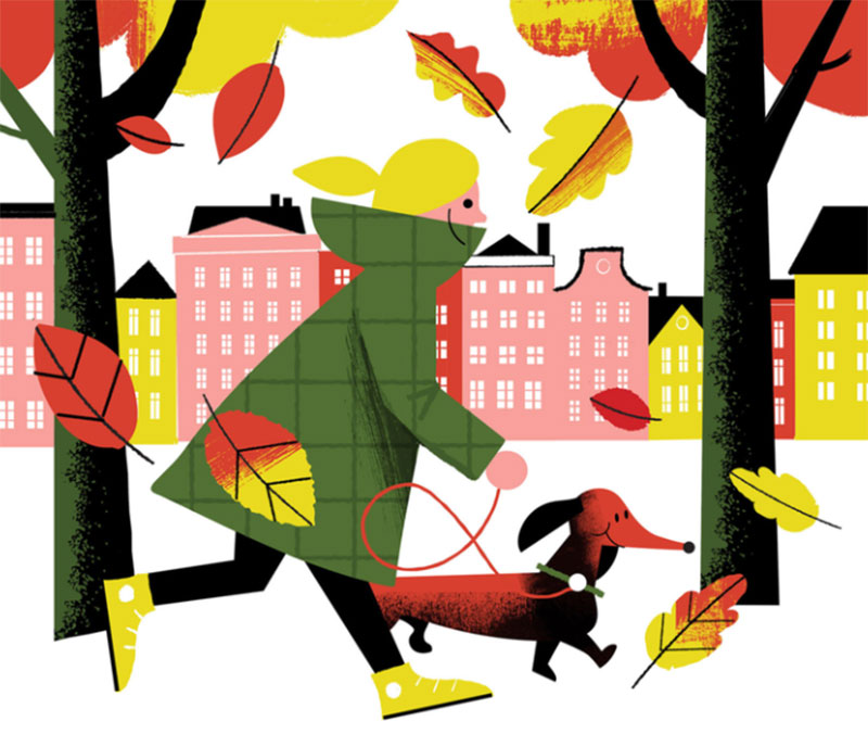 Walk-in-the-park Beautiful autumn illustration examples for the season