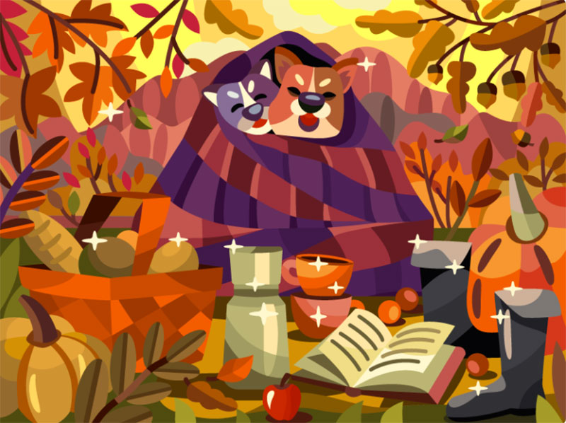 Picnic-with-dogs Beautiful autumn illustration examples for the season