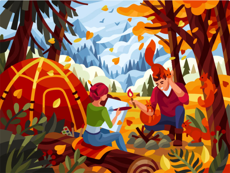 Romantic-camping Beautiful autumn illustration examples for the season