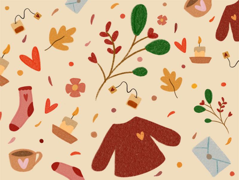 autumn-pattern. Beautiful autumn illustration examples for the season