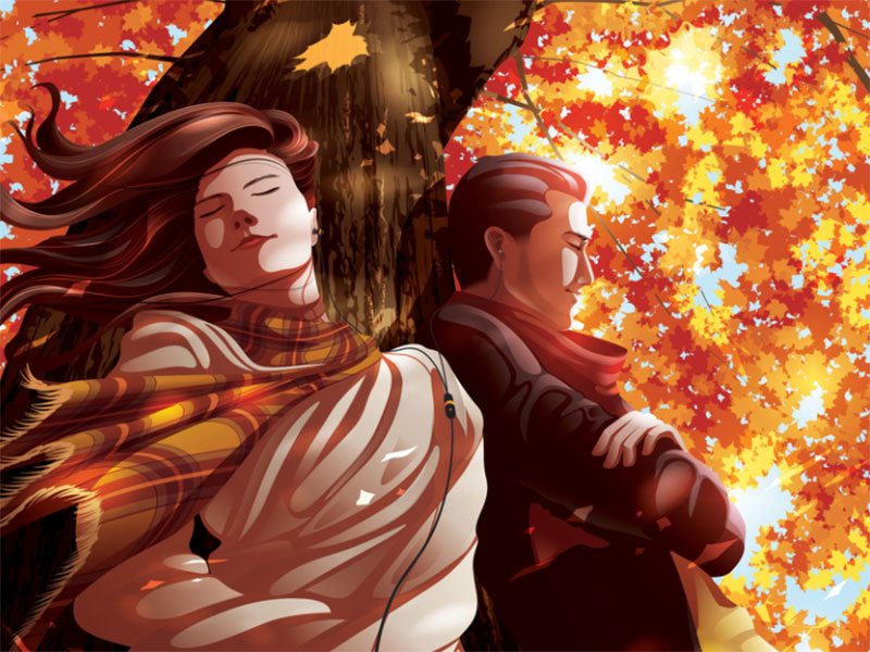 With-you-in-autumn Beautiful autumn illustration examples for the season