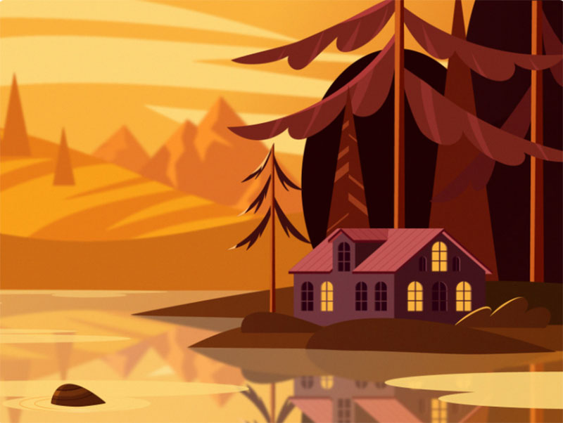 autumn-landscape Beautiful autumn illustration examples for the season