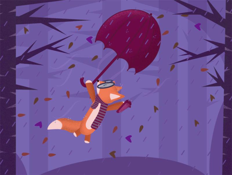 Flying-Fox Beautiful autumn illustration examples for the season