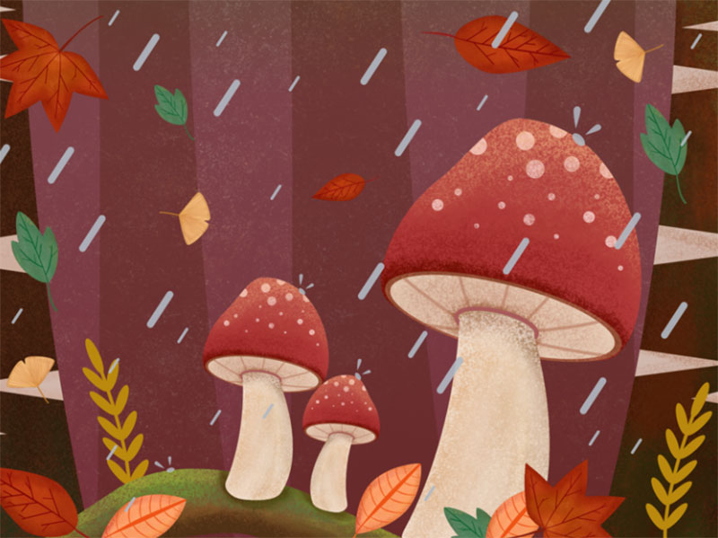Small-Forest Beautiful autumn illustration examples for the season