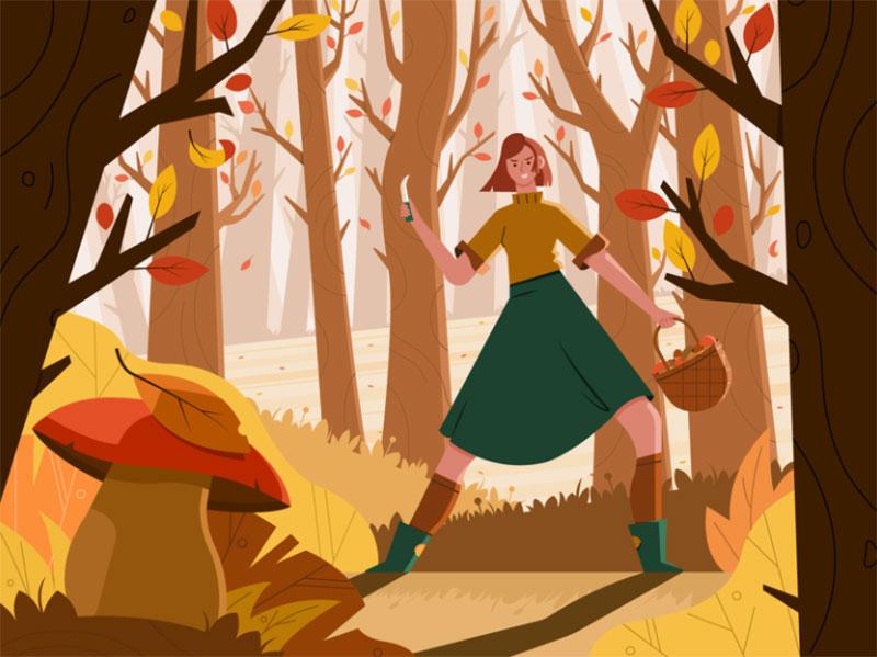 Mushroom-Season-Let-the-Hunt-Begin Beautiful autumn illustration examples for the season