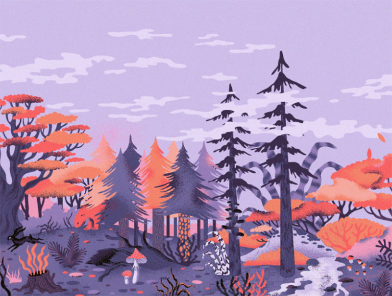 Autumn-forest Beautiful autumn illustration examples for the season