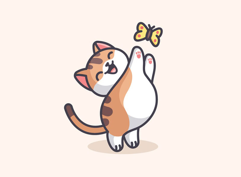Cat-Catching-Butterfly Beautiful cat illustration examples to check out