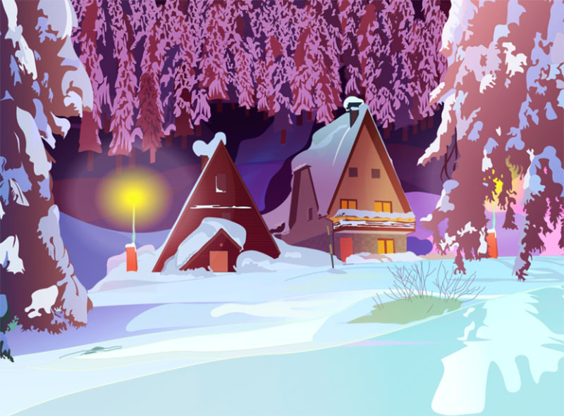Winter-night-bungalow-fight Beautifully designed winter illustration examples for you