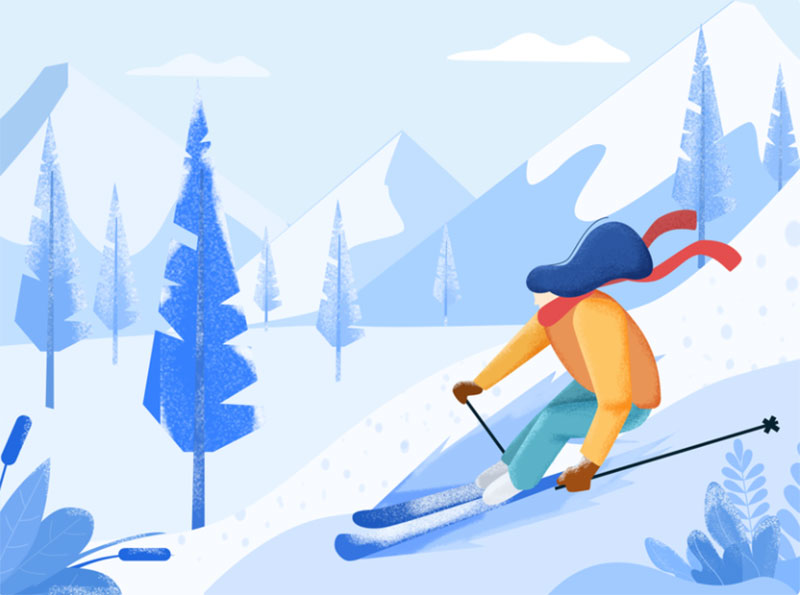 Daily-UI-Ski-illustration Beautifully designed winter illustration examples for you