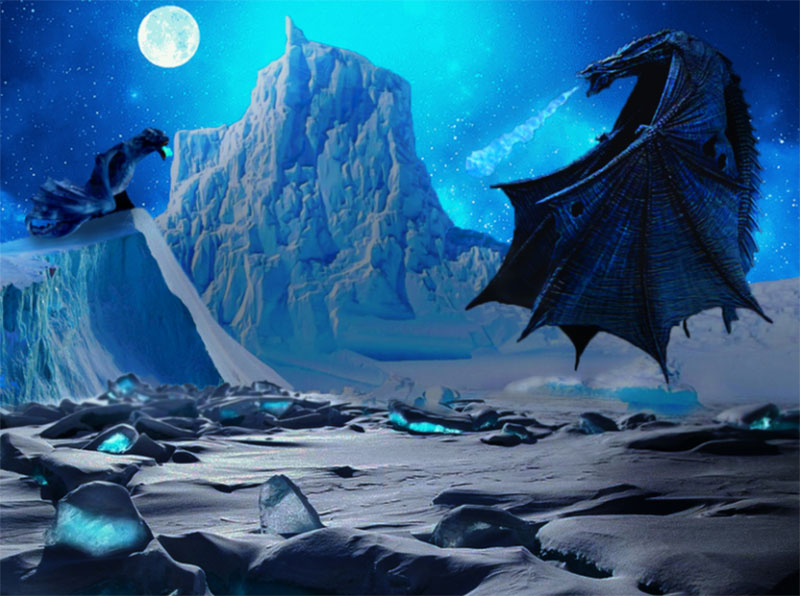 Winter-Dragon-at-moon-night Beautifully designed winter illustration examples for you