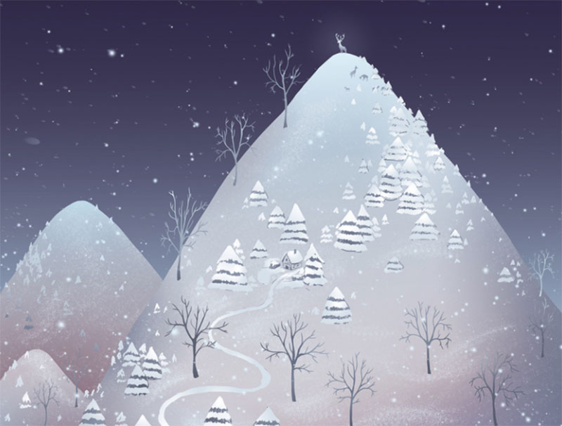 Winter-night Beautifully designed winter illustration examples for you