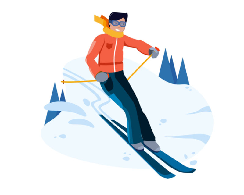 Skiing-Activity Beautifully designed winter illustration examples for you